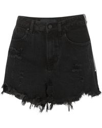 Alexander Wang - Bite Zip-detailed Frayed Denim Shorts - Lyst