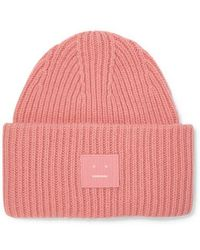 Acne Studios Pansy Beanie Aus Gerippter Wolle Mit Applikation - Pink