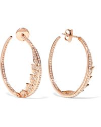 Stephen Webster - Magnipheasant 18-karat Rose Gold Diamond Hoop Earrings - Lyst