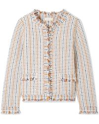 Tory Burch - Hollis Fringed Tweed Cardigan - Lyst