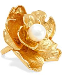 Kenneth Jay Lane - Gold-tone Faux Pearl Ring - Lyst
