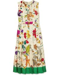 b00a68549fb Gucci - Pleated Floral-print Silk Midi Dress - Lyst