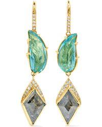 Brooke Gregson - Rivera Leaf 18-karat Gold, Aquamarine And Diamond Earrings - Lyst