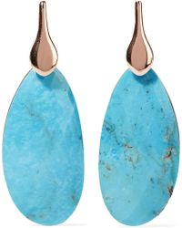 Monica Vinader - Nura Rose Gold Vermeil Turquoise Earrings Turquoise One Size - Lyst