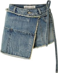Sandy Liang - Perry Asymmetric Distressed Denim Shorts - Lyst