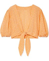 Puff-sleeved tie-waist cotton blouse Lisa Marie Fernandez Sale pv751WRug