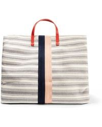Clare V. - Simple Textured Leather-trimmed Striped Canvas Tote - Lyst