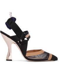 Fendi - Mesh, Canvas And Rubber Slingback Court Shoes - Lyst