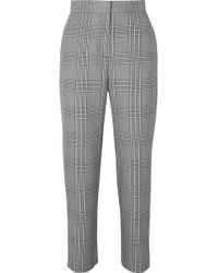 Maje - Checked Woven Tapered Trousers - Lyst