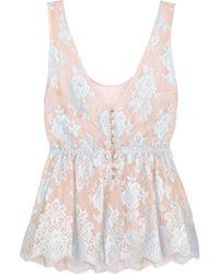 Rosamosario | Sweet Sumatra Lace And Silk-chiffon Pyjama Top | Lyst