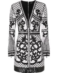 Balmain - Sequined Crepe Mini Dress - Lyst
