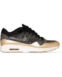 Nike - Air Max 1 Ultra 2.0 Metallic Leather-trimmed Flyknit Trainers - Lyst