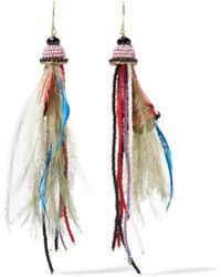 Etro - Bead And Feather Earrings - Lyst