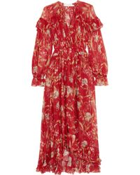 Zimmermann - Corsair Ruffled Floral-print Crepon Midi Dress - Lyst