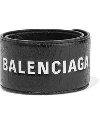 Balenciaga Cycle Printed Textured-leather Bracelet - Black