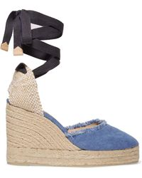 Castaner - Canela 80 Frayed Denim Wedge Espadrilles - Lyst
