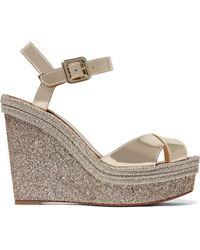 Christian Louboutin - Almeria 120 Leather Espadrille Wedge Sandals - Lyst