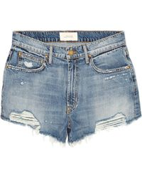 The Great - The Destroy Distressed Denim Shorts - Lyst