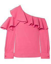 Oscar de la Renta - Ruffled One-shoulder Stretch-silk Crepe Top - Lyst