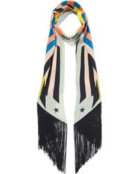 Givenchy | Fringed Printed Silk Crepe De Chine Scarf | Lyst