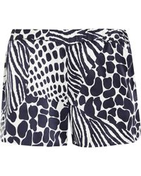 Equipment - Landis Animal-print Washed-silk Shorts - Lyst