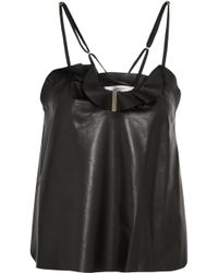 Carven - Ruffled Leather Camisole - Lyst