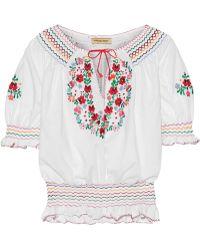 Muzungu Sisters - Dora Embroidered Cotton-poplin Blouse - Lyst