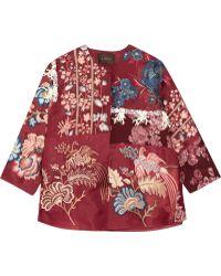 Biyan - Koral Brocade-paneled Embroidered Embellished Organza Jacket - Lyst