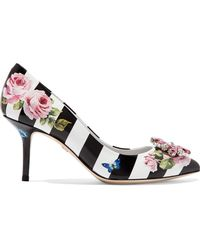 Dolce & Gabbana - Crystal-embellished Printed Patent-leather Pumps - Lyst