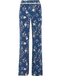 Paloma Blue - Portofino Crochet-trimmed Printed Silk-satin Wide-leg Trousers - Lyst