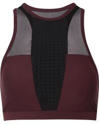 Athletic Propulsion Labs - Mesh-paneled Perforated Stretch Sports Bra - Lyst