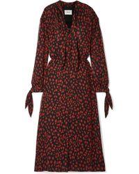 Nanushka - Zahara Pussy-bow Printed Crinkled-chiffon Midi Dress - Lyst