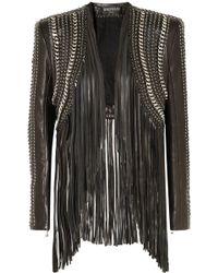 Balmain - Fringed Embellished Leather Jacket - Lyst