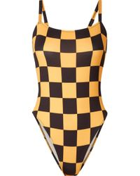 Solid & Striped - Re/done The Malibu Checked Swimsuit - Lyst