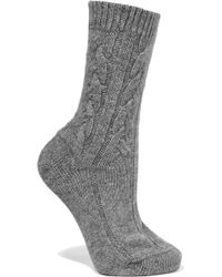 Johnstons - Cable-knit Cashmere Socks - Lyst