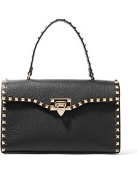 Valentino - Garavani The Rockstud Textured-leather Tote - Lyst