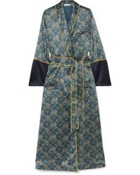 Olivia Von Halle - Bettina Printed Silk-satin Robe - Lyst