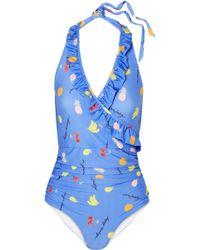 Ganni | Dexies Ruffled Printed Halterneck Swimsuit | Lyst