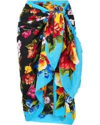 Dolce & Gabbana | Floral-print Cotton-gauze Pareo | Lyst