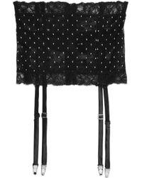 La Perla - Sparkles Stretch Leavers Lace And Swiss-dot Tulle Suspender Belt - Lyst