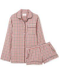 Three J Nyc - Josephine Checked Cotton-flannel Pyjama Set - Lyst