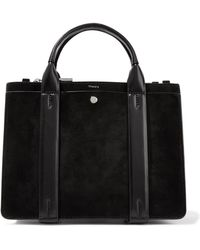 Theory - West Mini Leather-trimmed Suede Tote - Lyst