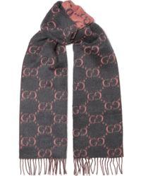 Gucci - Fringed Alpaca And Wool-blend Scarf - Lyst