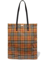 Burberry - Leather-trimmed Coated Checked Poplin Tote - Lyst