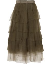 Brunello Cucinelli - Tiered Satin-trimmed Tulle Midi Skirt - Lyst