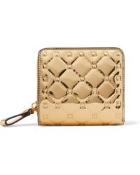 Valentino - Garavani The Rockstud Spike Embossed Mirrored-leather Wallet - Lyst