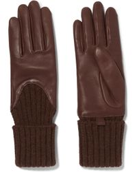 Agnelle - Cecilia Brown Leather & Cable Knit Gloves - Lyst