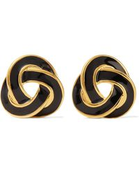 Kenneth Jay Lane - Gold-tone Enamel Clip Earrings - Lyst
