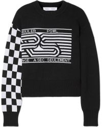 Proenza Schouler - Pswl Checkerboard Sleeve Graphic Jacquard Cropped Jumper - Lyst