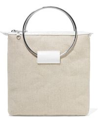 Little Liffner - Ring Croc-effect Leather And Canvas Tote - Lyst